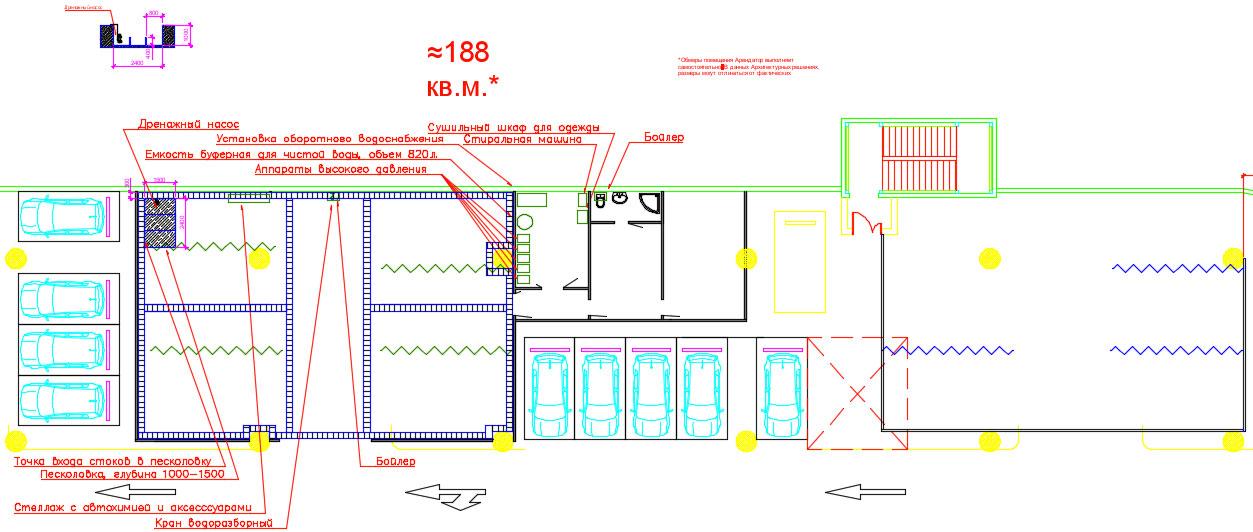 эскизный план автомоечного комплекса на паркинге